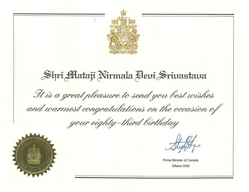 One example of the felicitations received by Shri Mataji from Canadian officials as a sign of recognition for her spiritual work.