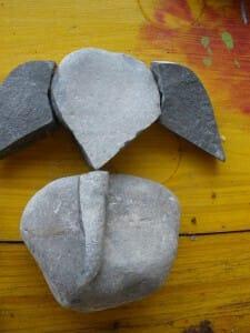 Shri Ganesha made of 4 Cabella river's stones - Nature Art at Daglio