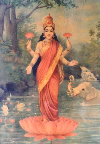 Mythological representation of Shri Lakshmi-divine principle or subtle energy of Nabi chakra- painting by Ravi Varna