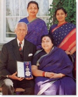 Sir CP with wife (Shri Mataji) and the 2 Daughters - Knighthood distinction