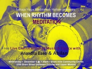 TODAY! – Free Special Event with 2 Great Performers of Indian Classical Music & Dance – Anandita & Ahilan in Burlington -Wednesday, Dec 2