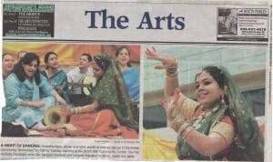 "Anandita & 'Chello Sahaji' Bhajan Band in Newspapers – ""Burlington Post"" writes in ""The Arts"" section"