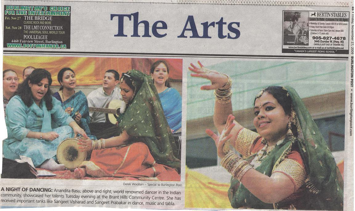 "Anandita & 'Chello Sahaji' Bhajan Band in Newspapers – ""Burlington Post"" writes in ""The Arts"" section"