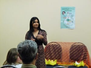 Rafeena - initiator of this program; introducing Sahaja Yoga at dr. Karelis Clinic