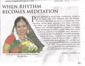 SNAP Burlington about Sahaja Yoga Meditation Program – Anandita in January 2010 Article
