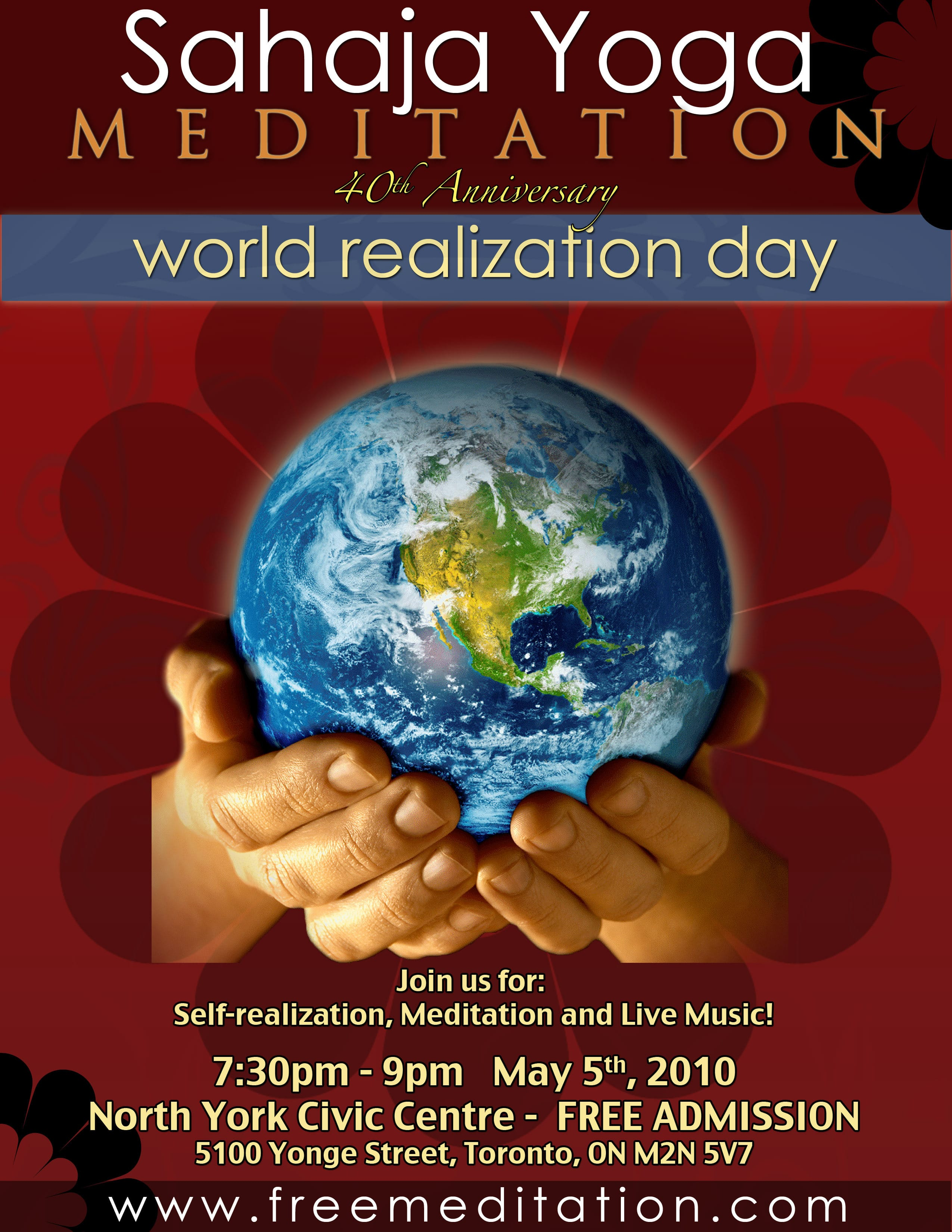 May 5th 2010 – FREE Public Program for 40th Anniversary of Sahasrara Day