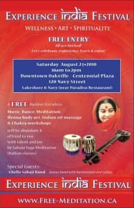 Experience India FREE ANNUAL Festival in Oakville Downtown on Saturday, Aug 21, 2010