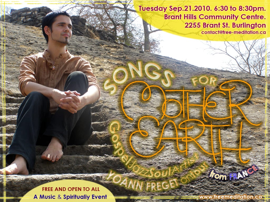 "Sept 21@ 6:30 PM – Burlington FREE Music &Spirituality Event with ""Songs for Mother Earth"" – Yoann Freget from France and Sahaja Yoga Meditation"