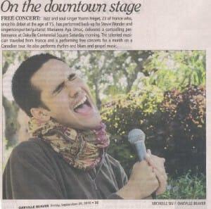 Oakville Newspaper about Yoann's Concert – Oakville Beaver, Sept 24, 2010