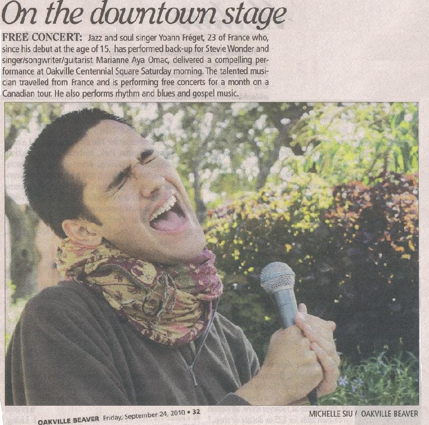 Oakville Newspaper about Yoann's Concert – Oakville Beaver, Sept 24, 2010