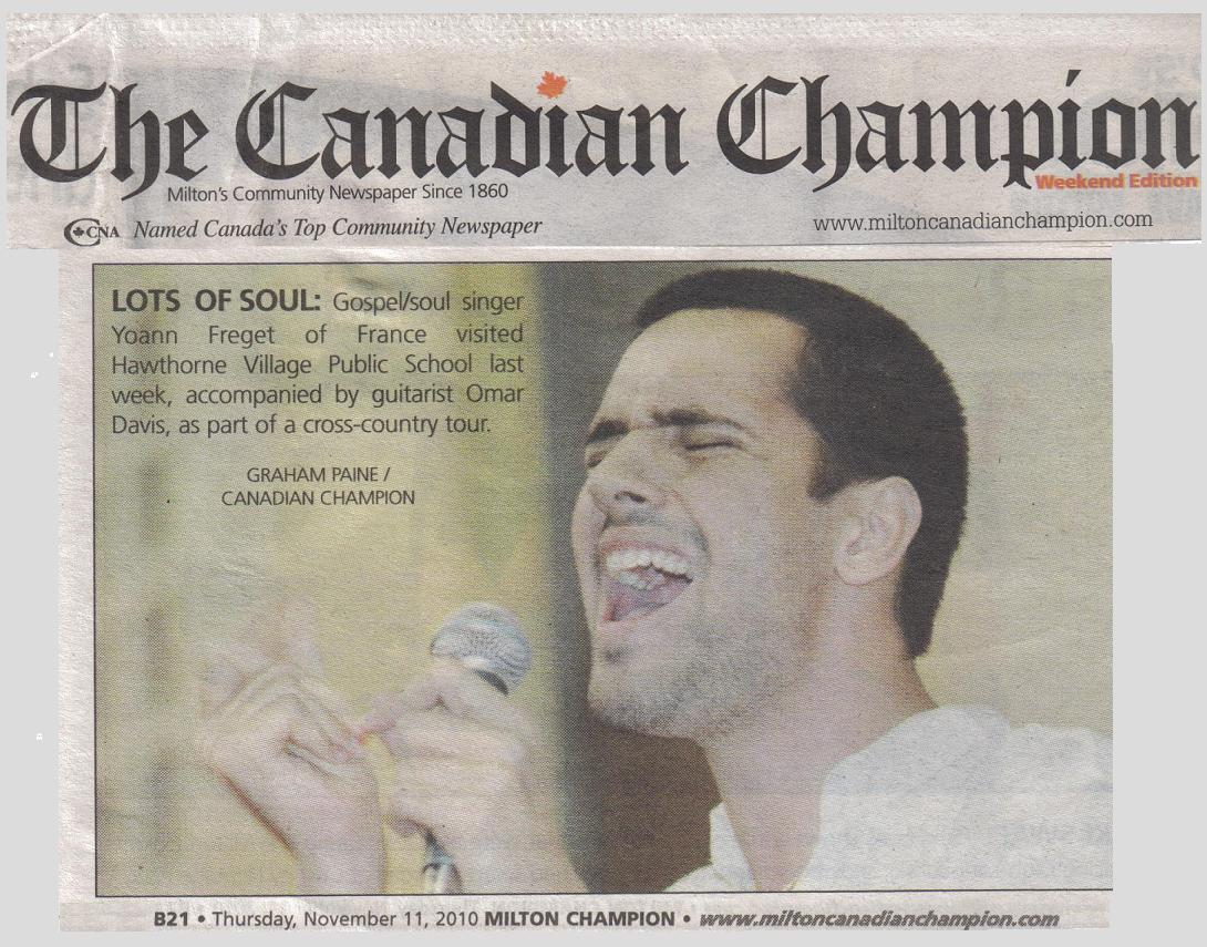 "Yoann Freget in ""The Canadian Champion"" – Milton's Newspaper (Great VIDEO!!)"