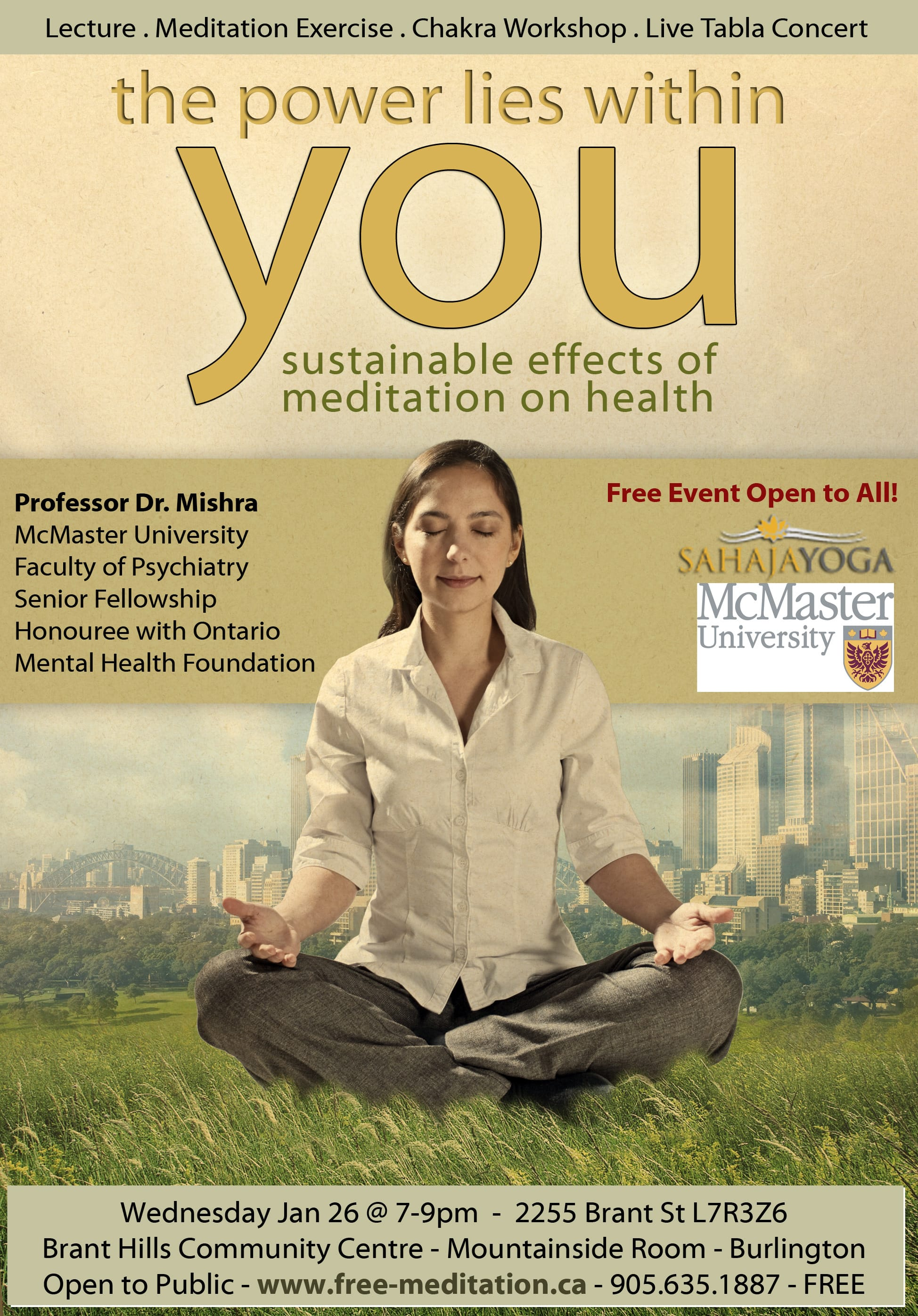 "Come to ""Sustainable Effects of Meditation on Health"" with Professor Dr. Mishra from McMaster University – FREE Event on Jan 26"