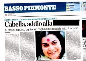 """Cabella's Farewell to The Great Saint""  in ""Il Secolo XIX"" Italian Newspaper, on February 25, 2011"