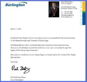 Namaste in Various Forms: Condolence Letter from Mayor of Burlington and Austrian Walter's Poem