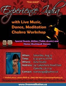 "(Free Event!) ""Experience India"" comes to Downtown Oakville @ iGita Yoga Studio on THIS Saturday, AUGUST 13!"