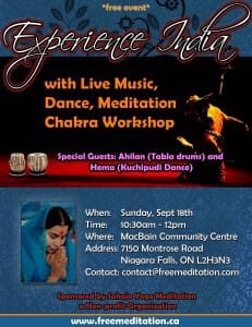 """Free Meditation Marathon – 5 FREE Programs in 5 Cities! Chakra Workshops & """"Experience India with Live Music & Dance"""": Sept 17-18 in Stratford, Mitchell, Goderich, Brussels and Niagara Falls!"""