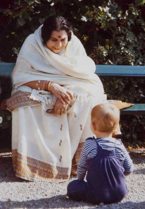 Shri Mataji - bench-child