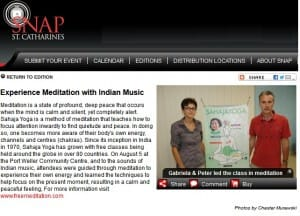 SNAP'ed! Sahaja Yoga Meditation class in Niagara region (ST. CATHARINES)