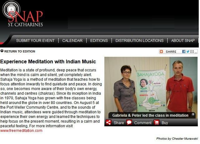 SNAP'ed! Sahaja Yoga Meditation class in Niagara region (ST. CATHARINES)
