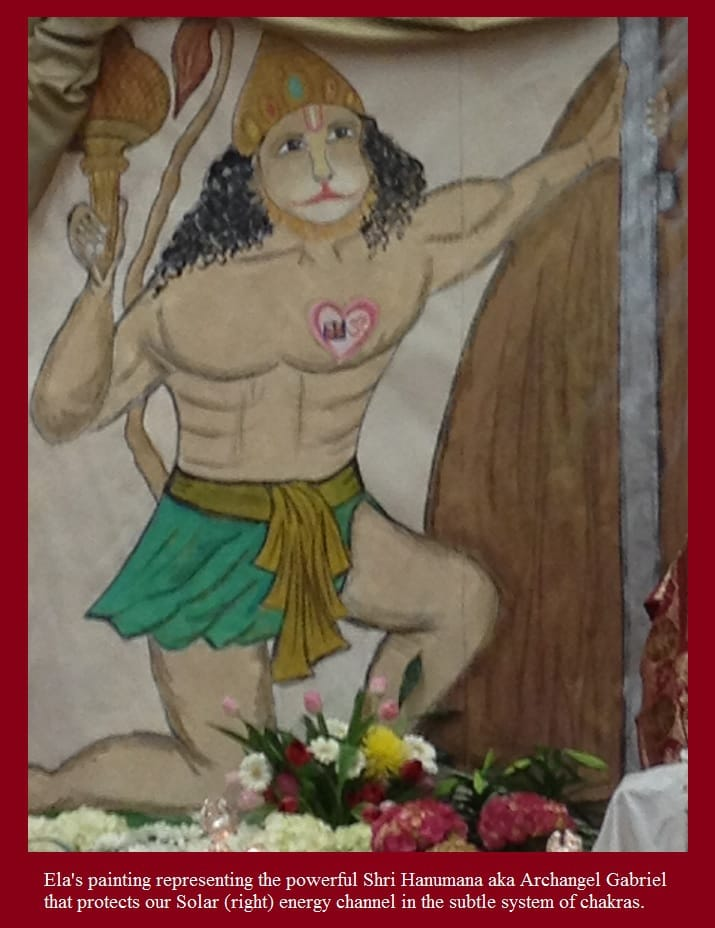 Ela's painting representing Shri Hanuman aka the Archangel Gabriel who is considered in sahaja yoga to be the governing power  within our solar/right energy channel