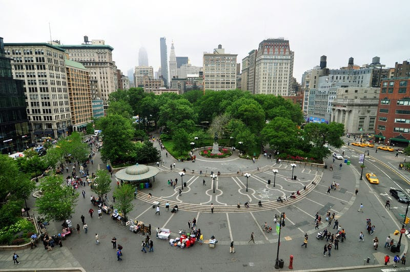In Manhattan's Union Square – Earth Day with Sahaja Yoga Meditation and Giant Pandas