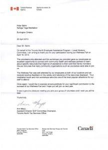 Canada Revenue Agency: Thank You Letter for Sahaja Yoga Meditation @ Health Fair 2013