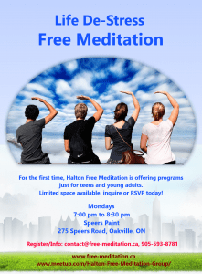 NEWS: LIFE De-Stress FREE Program for YOUTH in Halton/Niagara (ONTARIO)