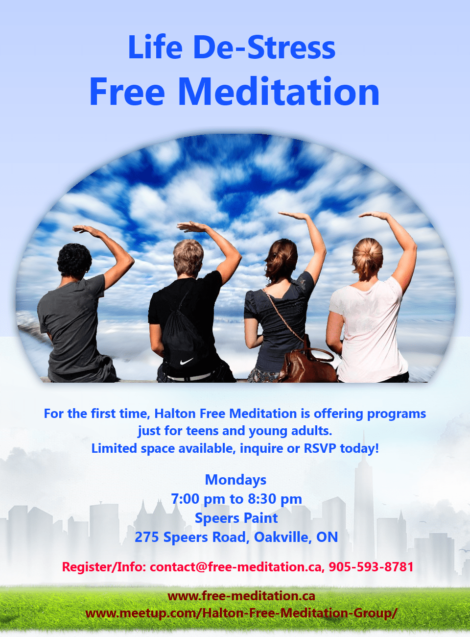 Youth Meditation Classes in Oakville  - for Students and Young Adults - Free weekly classes