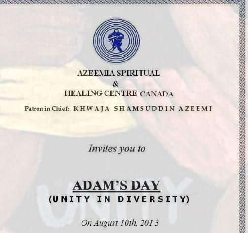 We are Invited @ Adam's Day by Azeemia Spiritual & Healing Centre Canada