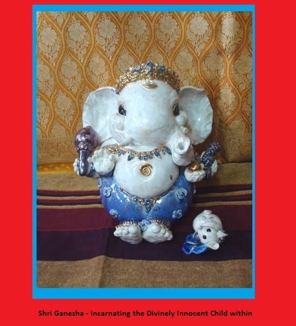 Shri Ganesha - statue created by Brigitte Saugstad, yogini artist from Austria - Shri Ganesha has also nearby the little mouse .. his vehicle .. both are now in Poland in a yogi's home