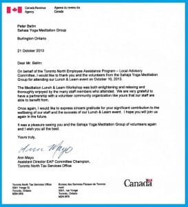 Letter of Appreciation: Meditation Meets the Corporate World at the CRA Lunch & Learn Program (October 10, 2013)