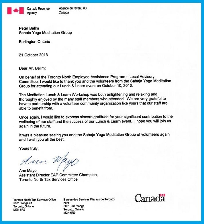 Canada Revenue Agency - Thank you Letter -Lunch and Learn 2013