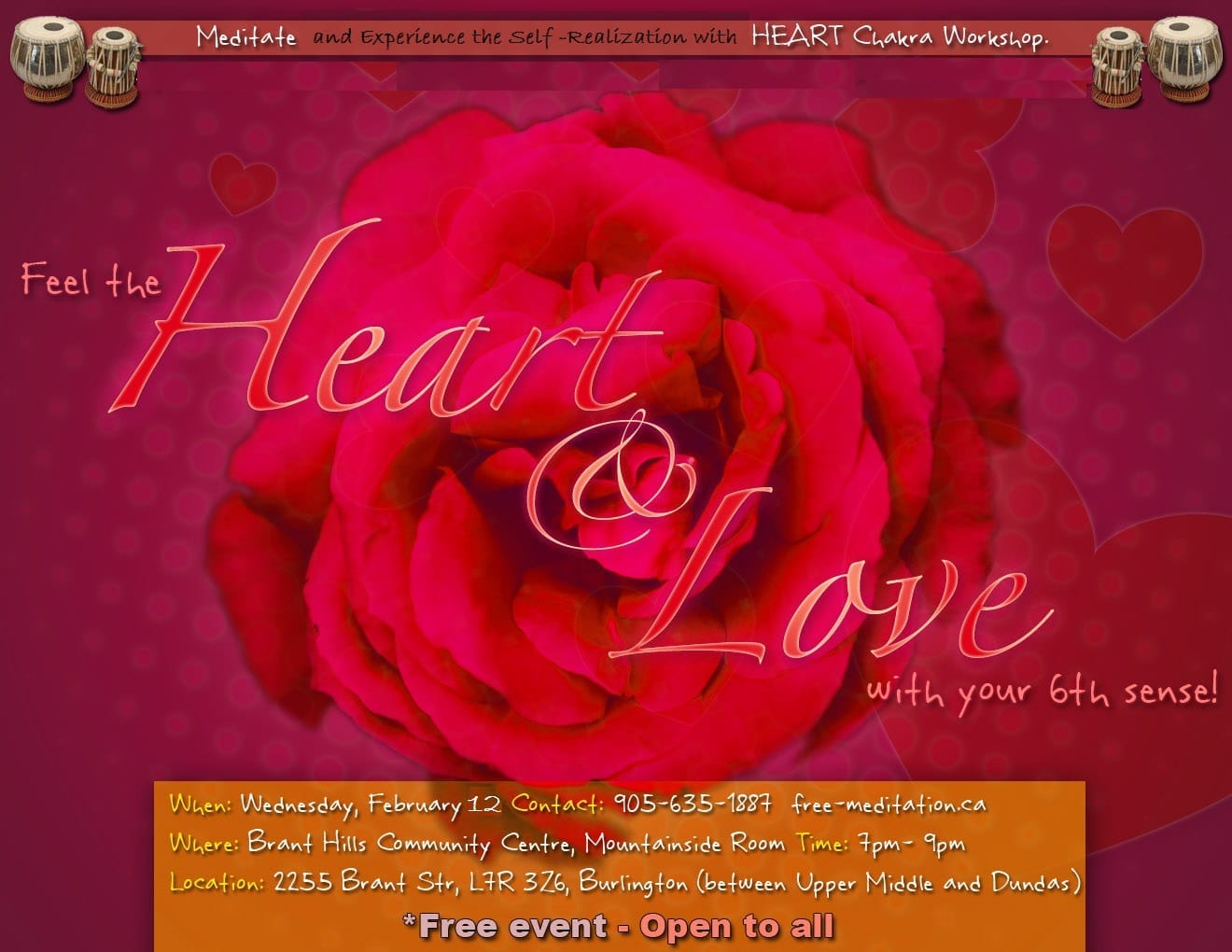 "A RUMI's Inspired Valentine's Day: ""Hearts in Blossom with Meditation, Chakra Workshop and Healing Mantras"" – FREE Public Program"
