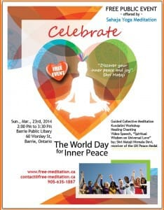 Barrie Celebrates The World Inner Peace Day on Sunday, March 23 @ Public Library