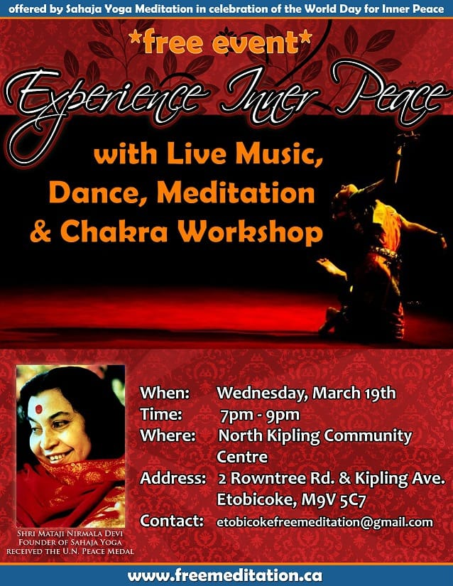 Experience Inner Peace with Live Music, Dance, Meditation & Chakra workshop in Etobicoke – AND MORE (!)