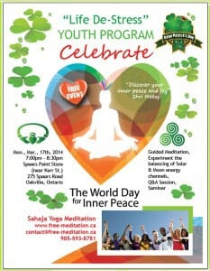 "St Patrick's Day 2014 – Celebrated with ""World's Inner Peace Day"" Public Program in Oakville (March 17 @ 7pm)"