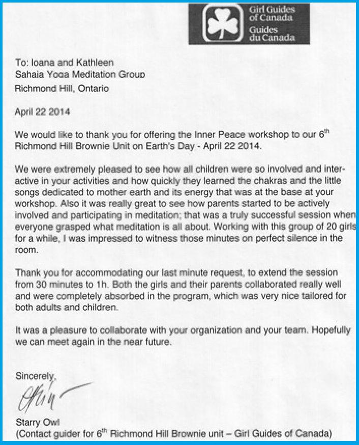 2014-c Girl Guides- Earth Day meditation - Appreciation letter Signature