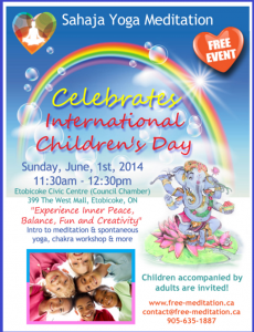 (Come on June 1st) Amazing Free Program for Parents & Children: Meditation, Creativity & Playful Chakra workshop (CELEBRATE International Children Day)