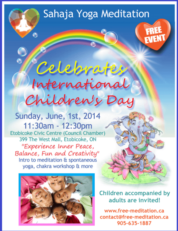 Read more about the article (Come on June 1st) Amazing Free Program for Parents & Children: Meditation, Creativity & Playful Chakra workshop (CELEBRATE International Children Day)