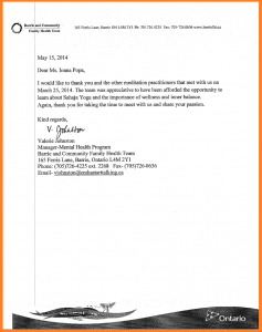"Appreciation Letter from BARRIE's Canadian Mental Health Association for ""Morning Inner Peace Workshop with Sahaja Yoga Meditation""- March 25, 2014"