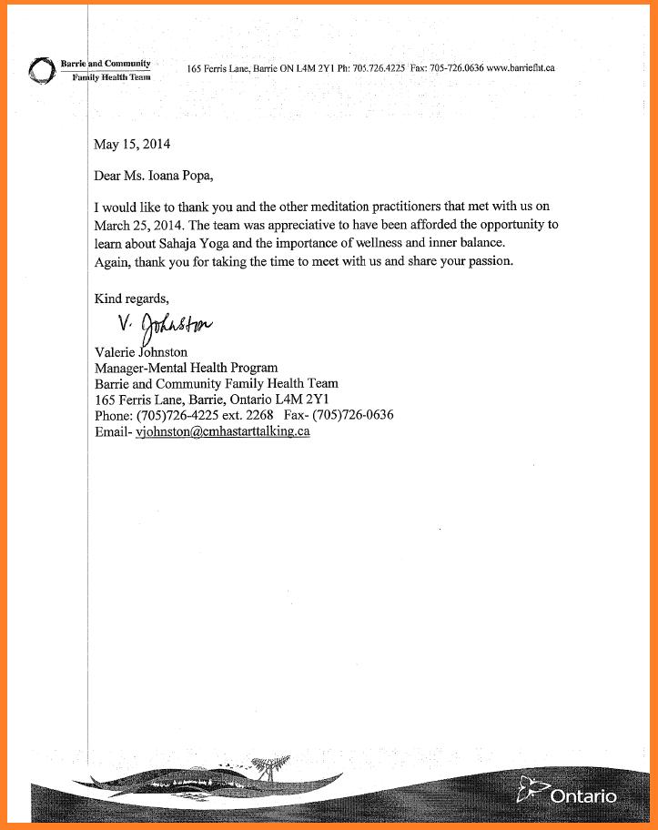 Thank you letter - Mental Health program -Community Family Health team - BARRIE