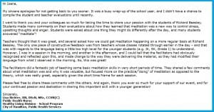 "Appreciation Letter to Sahaja Yoga Meditation from Richard Beasley's Care Fair – 8 ""Inner Peace mini-Workshops"" for JK,SK Children (!)"