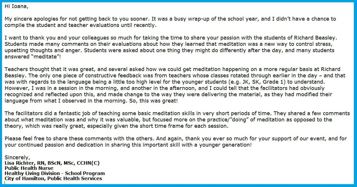 Appreciation Letter from Richard Beasley Public School - Healthy Living Division