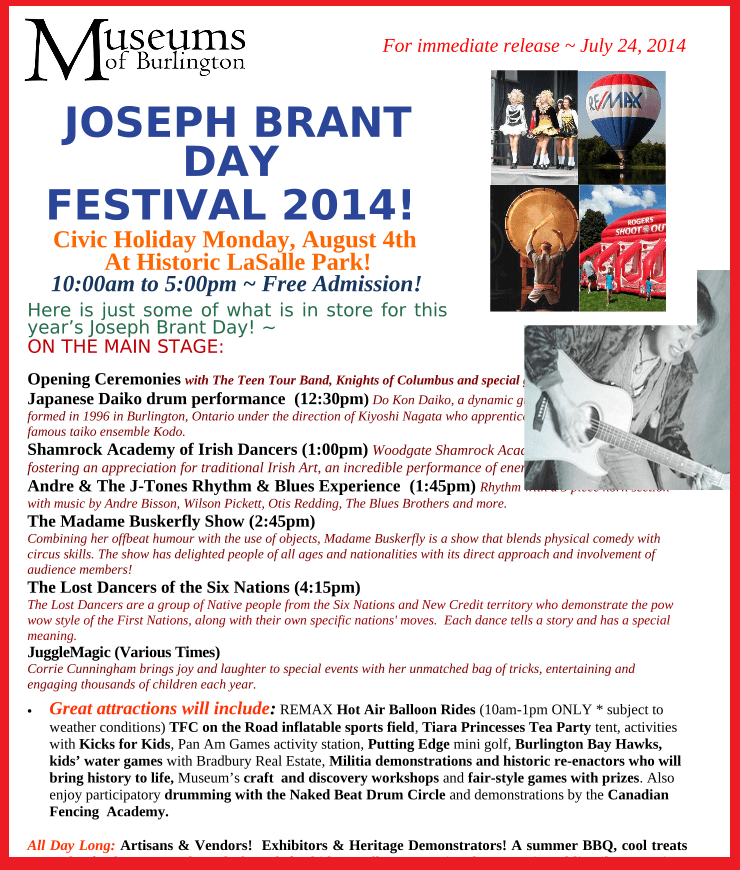 Join us on Civic Day at Joseph Brant Day Festival in Burlington (!) – WHO IS JOSEPH BRANT ?!