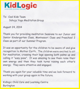 "KIDLOGIC Child Care Learning Centre is Teaming Up with Sahaja Yoga meditation: ""Cool Kids MEDITATE!"" Summer Workshop (PHOTOS + APPRECIATION LETTER)"