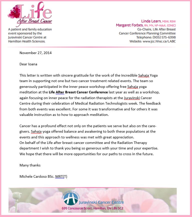 Appreciation Letter from Sahaja Yoga meditation from Juravinski Cancer Centre at Hamilton Sciences - 2013