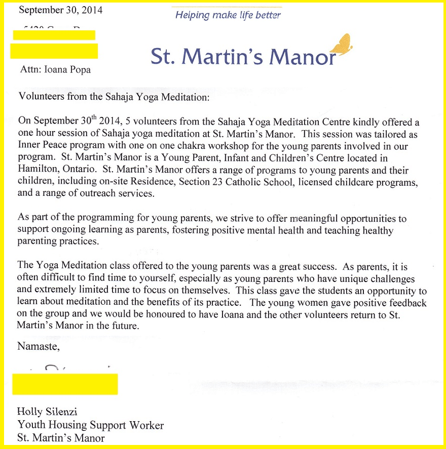 Excerpt - Thank you letter from St Martins  - Youth parents