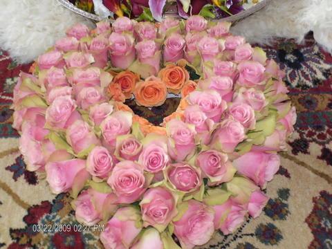 Heart of roses created by Sahaja Yogis -photo by Sophia