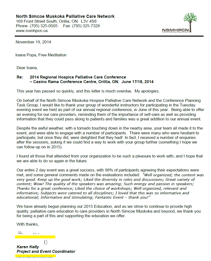 Thank you Letter Sahaja Yoga Meditation- MUSKOKA - 2014 Regional Hospice Palliative Care Conference