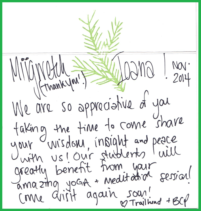 Thank you Card received by Sagaha Yoga meditation motivational speaker from Bronte Creek youth Conference